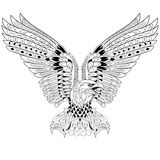 Zentangle stylized eagle. Zentangle stylized cartoon eagle, isolated on white background. Sketch for adult antistress coloring page. Hand drawn doodle, zentangle royalty free illustration
