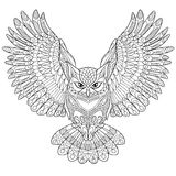 Zentangle stylized eagle owl Royalty Free Stock Images