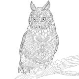 Zentangle stylized eagle owl Stock Photography