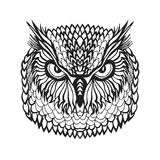 Zentangle stylized eagle owl head. Tribal sketch for tattoo or t-shirt. Royalty Free Stock Images