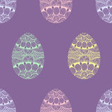Zentangle stylized Easter pastel Eggs seamless pattern. Stock Photos