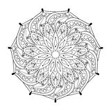 Zentangle stylized elegant round Indian Mandala.