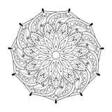 Zentangle stylized elegant round Indian Mandala. Stock Photos