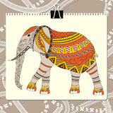 Zentangle stylized elephant. Animal collection. Hand drawn doodle. Ethnic patterned vector illustration. African, indian Royalty Free Stock Images
