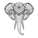 Zentangle stylized elphant head. Sketch for tattoo or t-shirt. Stock Image