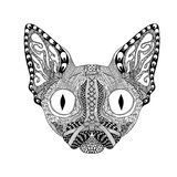 Zentangle stylized  Face of Black Cat. Hand Drawn Sphinx  Stock Photos