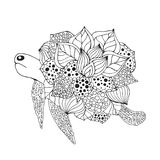 Zentangle stylized fantasy turtle. Royalty Free Stock Photo