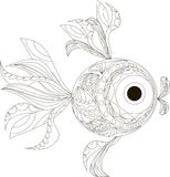 Zentangle stylized fish black and white hand drawn. Vector illustration Stock Photos