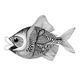 Zentangle stylized Fish. Hand Drawn doodle vector illustration i Stock Images