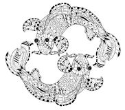 Zentangle stylized floral china fish carp doodle. Royalty Free Stock Photo