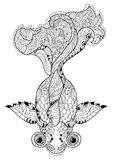 Zentangle stylized floral china fish doodle Royalty Free Stock Image