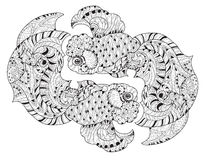 Zentangle stylized floral china fish doodle. Hand Drawn vector illustration. Sketch for tattoo or coloring book Stock Photography