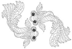 Zentangle stylized floral china fish doodle Royalty Free Stock Photo