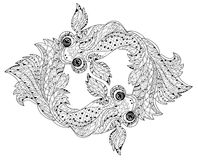 Zentangle stylized floral china fish doodle Royalty Free Stock Photos