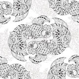 Zentangle stylized floral china fish doodle. Hand Drawn vector illustration. Sketch for tattoo or coloring book.Seamless pattern Stock Images