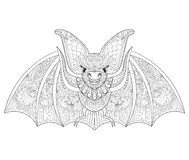 Zentangle stylized flying Bat for Halloween. Freehand sketch for Royalty Free Stock Photos
