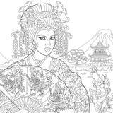 Zentangle Stylized Geisha Woman Royalty Free Stock Images