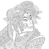 Zentangle stylized geisha woman. Zentangle stylized cartoon geisha woman (japanese dancing actress). Hand drawn sketch for adult antistress coloring page, T Stock Photo