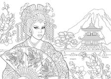 Zentangle stylized geisha woman. Coloring page of geisha japanese dancing actress with pagoda and cherry blossom on the background. Freehand sketch drawing for Royalty Free Stock Photos