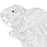 Zentangle stylized groundhog Stock Images