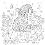 Zentangle stylized halloween coloring page Stock Photos