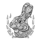 Zentangle stylized head of rabbit in wreath.  Hand Drawn doodle Royalty Free Stock Image
