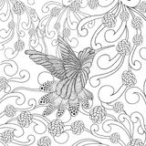 Zentangle stylized hummingbird in flower garden Stock Images