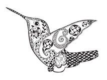 Zentangle stylized hummingbird. Sketch for tattoo or t-shirt. Stock Image
