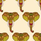 Zentangle stylized Indian Elephant. Hand Drawn  illustration isolated on white background. Makhenda seamless pattern Royalty Free Stock Photo