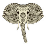 Zentangle stylized Indian Elephant. Hand Drawn vector illustrati Royalty Free Stock Photo
