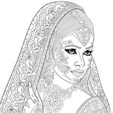Zentangle stylized indian woman. Zentangle stylized cartoon indian woman, on white background. Hand drawn sketch for adult antistress coloring page, T-shirt royalty free illustration