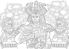 Zentangle stylized japanese samurai. Coloring page of japanese samurai with lion statues on the background. Freehand sketch drawing for adult antistress coloring Stock Photo