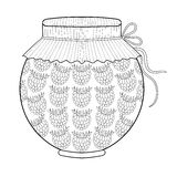 Zentangle stylized jar with ruspberry jam. Freehand sketch for a Royalty Free Stock Photography