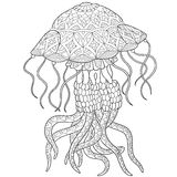 Zentangle stylized jellyfish Stock Image