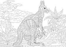 Zentangle stylized kangaroo Royalty Free Stock Images