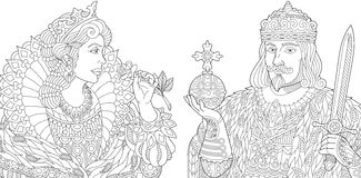 Zentangle stylized king and queen Stock Photo