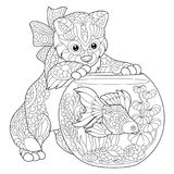 Zentangle stylized kitten and goldfish Royalty Free Stock Photos