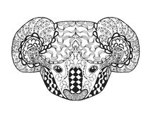 Zentangle stylized koala head. Sketch for tattoo or t-shirt. Royalty Free Stock Image