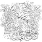 Zentangle Stylized Koi Carp Stock Images