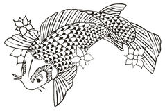 Zentangle stylized koi fish, vector, illustration, freehand penc Royalty Free Stock Image