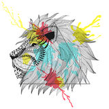 Zentangle stylized Lion face in triangle frame with watercolor i Royalty Free Stock Photography