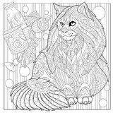 Zentangle stylized maine coon cat Stock Image