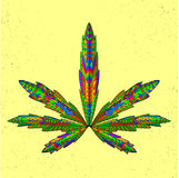 Zentangle stylized marijuana leaf. Sketch for Royalty Free Stock Photos