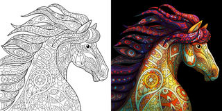 Zentangle stylized mustang horse Stock Images