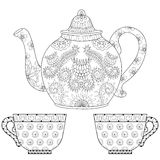 Zentangle stylized ornamental teapot with cups of tea, hot bever. Age with artistically doodle elements. Ethnic hand drawn  illustration for adult coloring pages Royalty Free Stock Photography