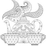 Zentangle stylized ornamental teapot with steam and cups of tea Stock Image