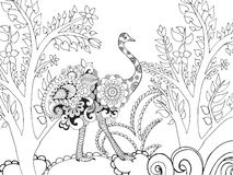 Zentangle stylized ostrish in fantasy garden. Stock Photo