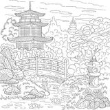Zentangle stylized pagoda Stock Photography