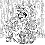 Zentangle stylized panda. Zentangle stylized cartoon panda sitting among bamboo stems. Sketch for adult antistress coloring page. Hand drawn doodle, zentangle Stock Photo