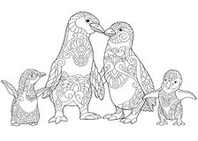 Zentangle stylized penguins family. Coloring page of emperor penguins family, isolated on white background. Freehand sketch drawing for adult antistress coloring vector illustration